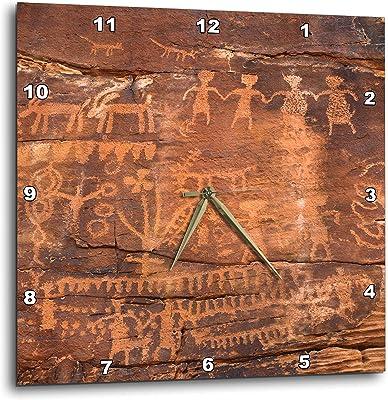 3D Rose USA-Southwest-Indian Petroglyphs on Sandstone Wall Clock, ...