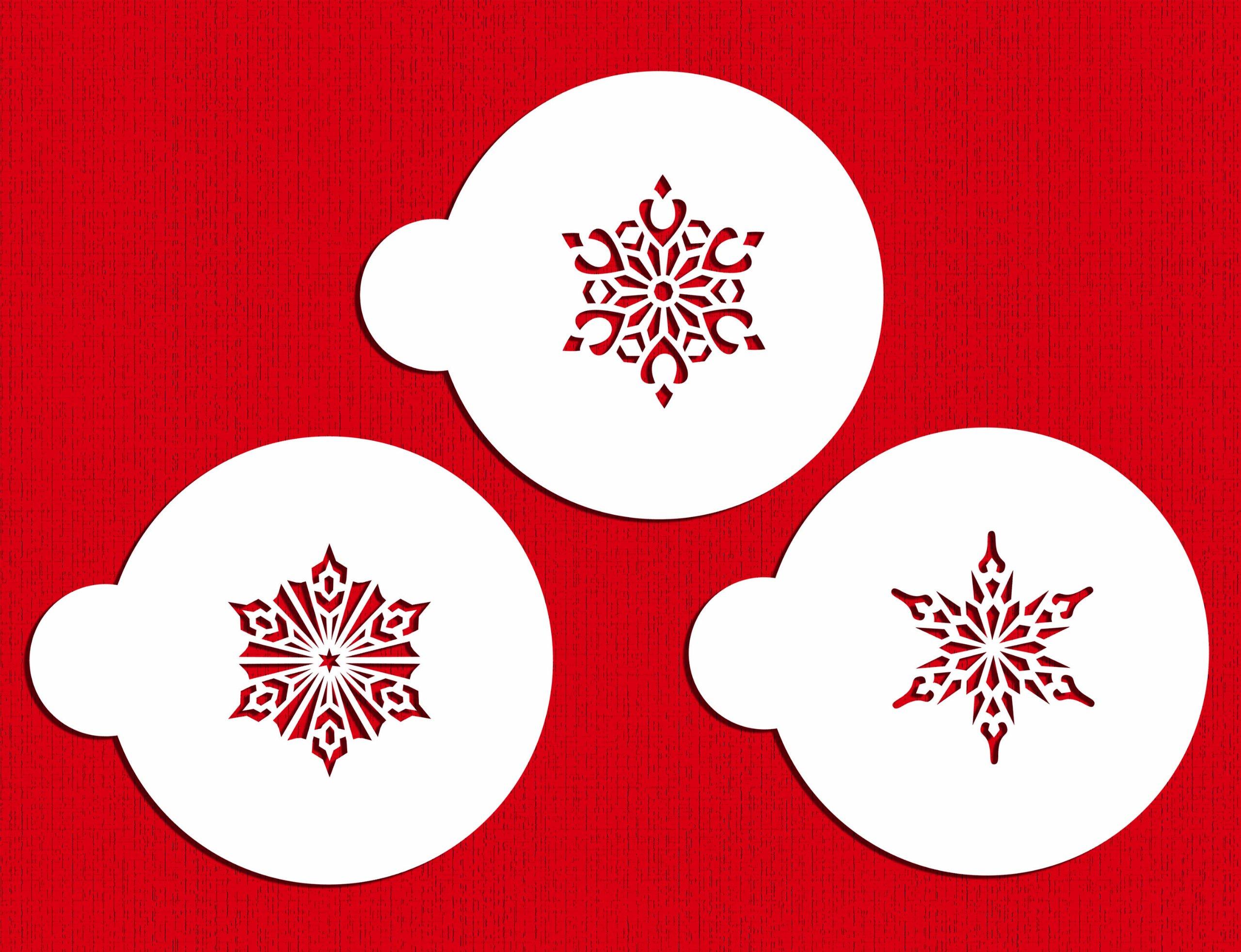 Designer Stencils C747 Small Crystal Snowflakes 2 Cookie Stencils, Beige/semi-transparent