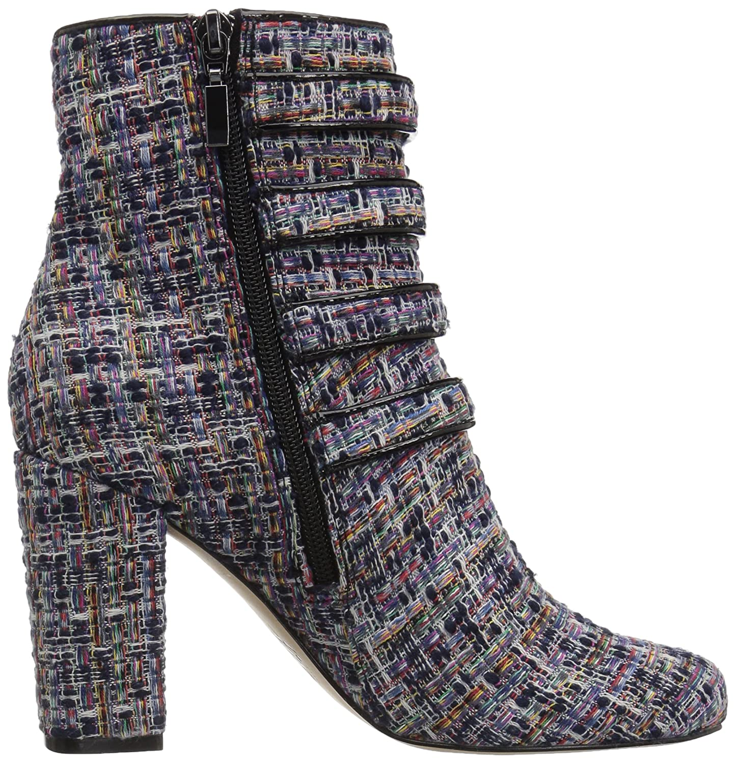 The Fix Women's Sadie Military Style 4 Strap Jewel Buttons Ankle Boot B074LVXTWQ 7 B(M) US|Black Multi Tweed Textile