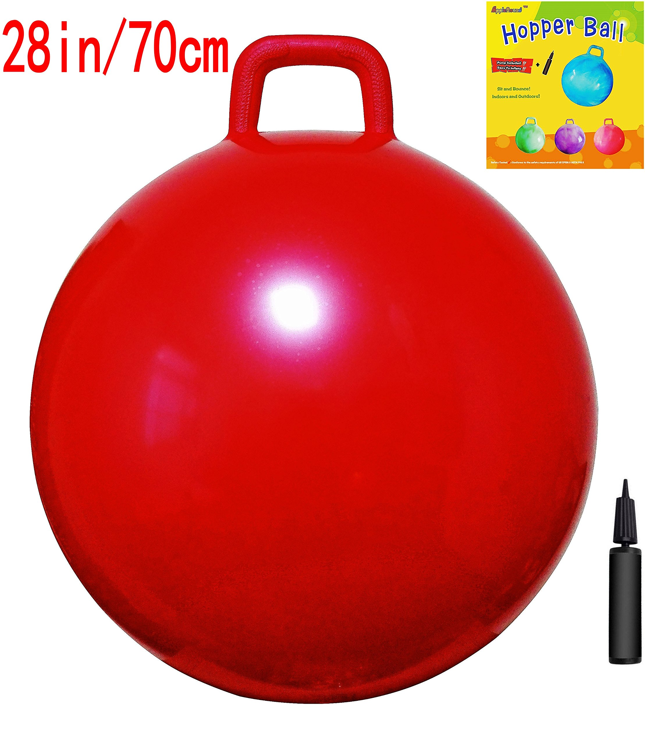AppleRound Space Hopper Ball with Air Pump: 28in/70cm Diameter for Age 13+, Hop Ball, Kangaroo Bouncer, Hoppity Hop, Jumping Ball, Sit & Bounce