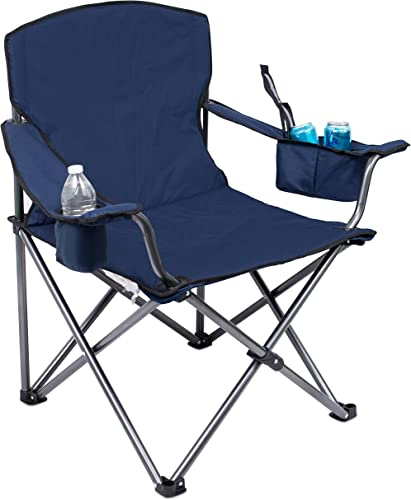 Internet s Best XL Padded Camping Folding Chair – Cooler Bag – Outdoor – Sports – Insulated Cup Holder – Heavy Duty – Carrying Case – Beach – Extra Wide – Quad
