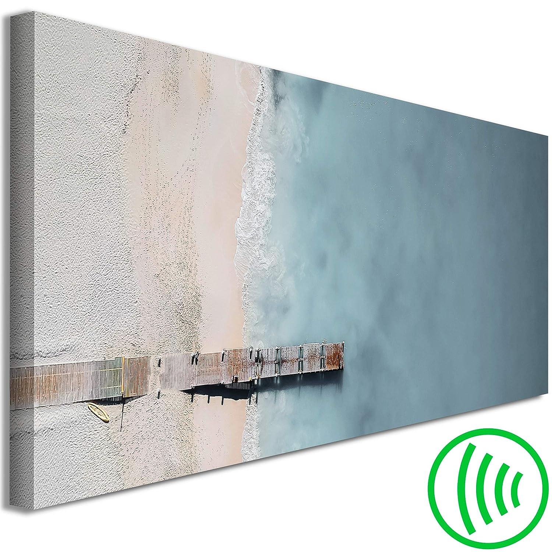 decomonkey Akustikbild Meer Strand 135x45 cm 1 Teilig Bilder Leinwandbilder Wandbilder XXL Schallschlucker Schallschutz Akustikdämmung Wandbild Deko leise Abstrakt grau beige
