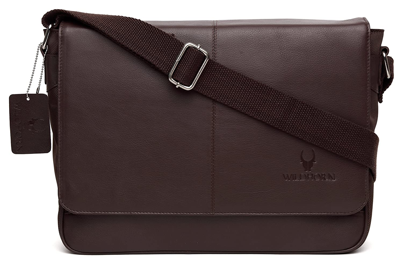 WildHorn Leather 35.56 cms Brown Messenger Bag (MB239)