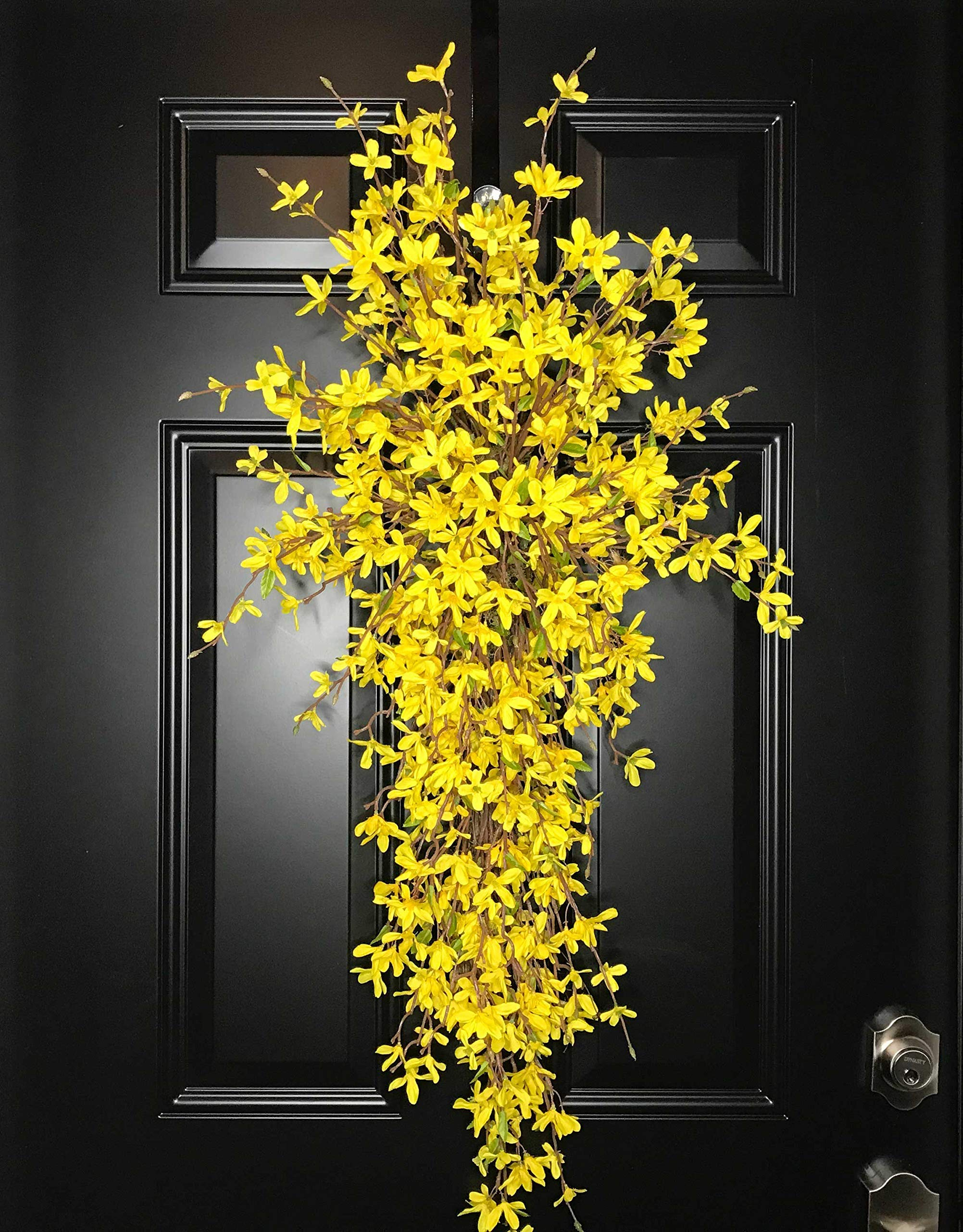 Extra Large Forsythia Floral Teardrop Swag Wreath for Front Door Porch Indoor Wall Farmhouse Decor Spring Springtime Summer Summertime Mother's Day Easter, Handmade, Yellow, 3 Sizes-42'', 36'', 30'' L by Wreath and Vine, LLC (Image #5)