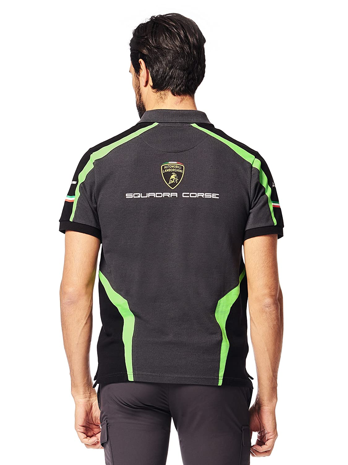 LAMBORGHINI Squadra Corse Mens Polo Shirt in Dark Grey at ...