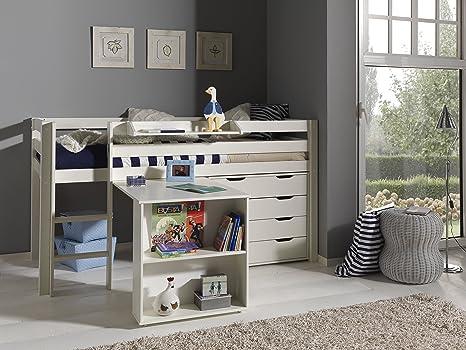 Vipack pino lit mezzanine bureau et commode tiroirs blanc pin