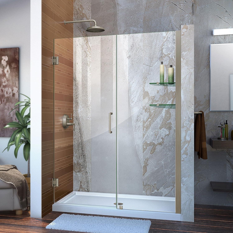 DreamLine Unidoor 53-54 in. W x 72 in. H Frameless Hinged Shower Door with Shelves in Brushed Nickel, SHDR-20537210S-04