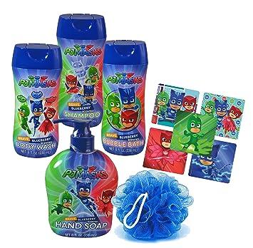 Pj Masks Super Hero 5pc Bathroom Collection! Includes Hand Soap, Body Wash, Shampoo