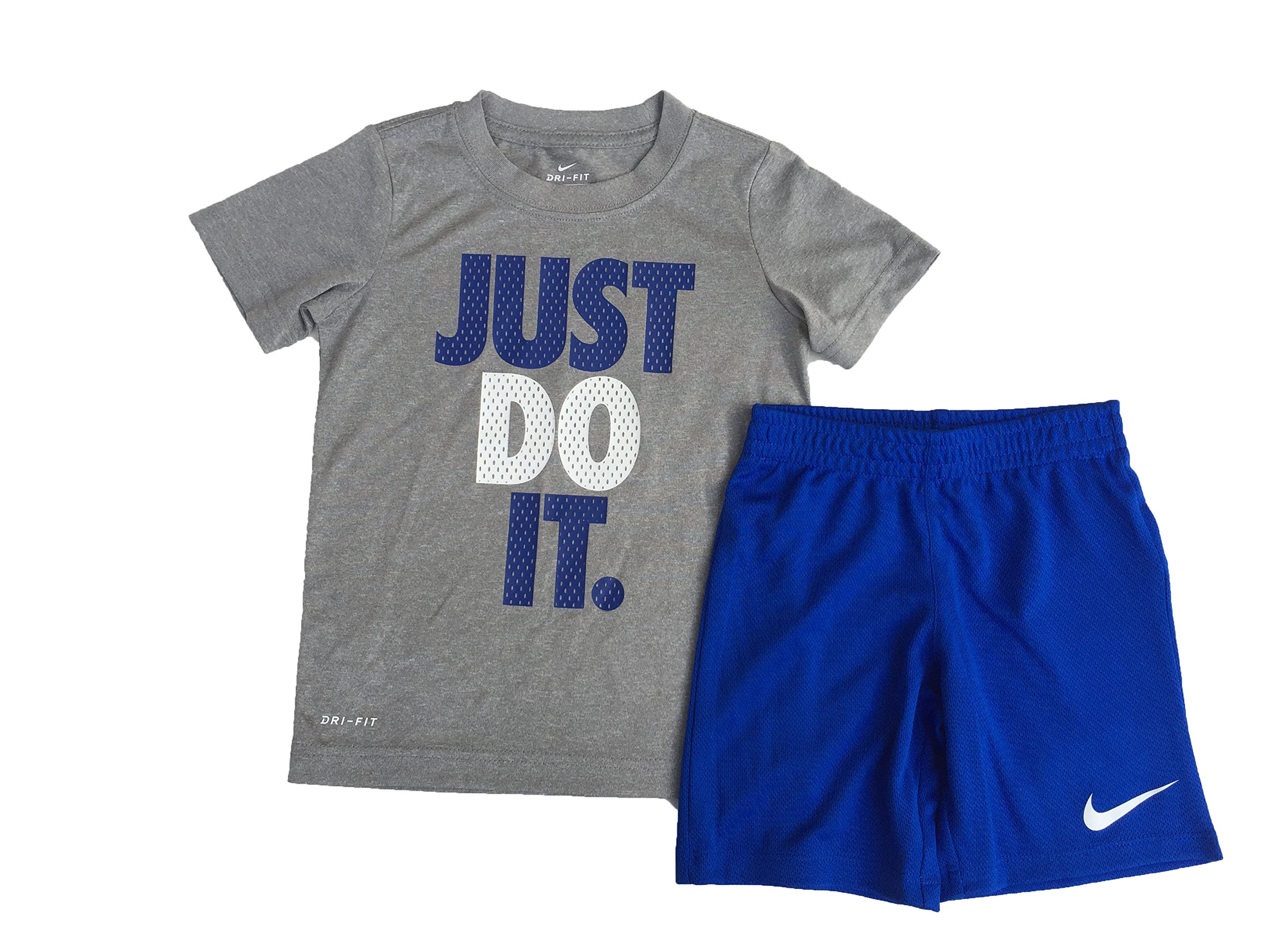 Nike Baby Boys' 2 Piece ''Just Do It'' Short Sleeve & Shorts Set (5 Little Kids, Game Royal)