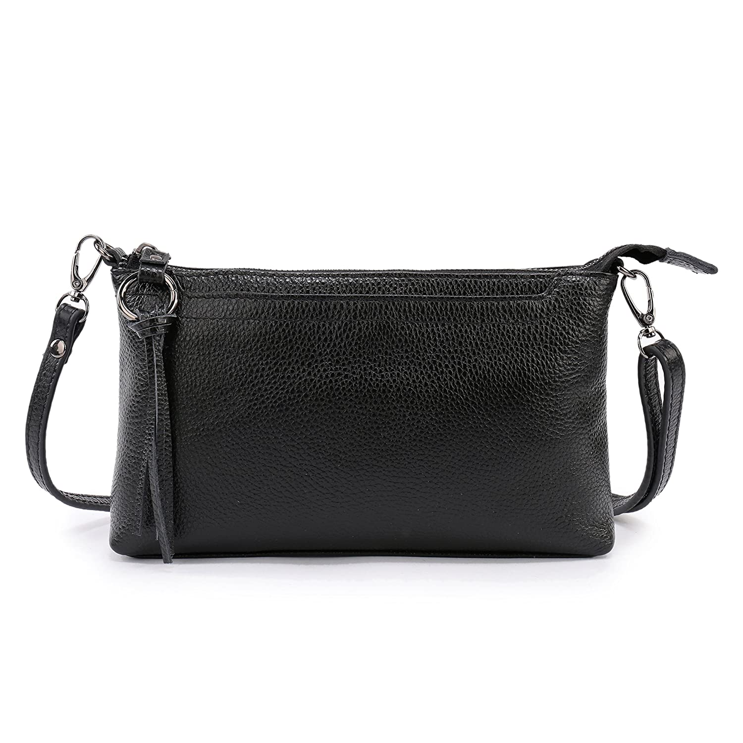 8facedcd582c Amazon.com  Lanvera Women s Crossbody Shoulder Bag Genuine Leather Zipper  Clutch Purse Wallet Handbag (Black)  Shoes