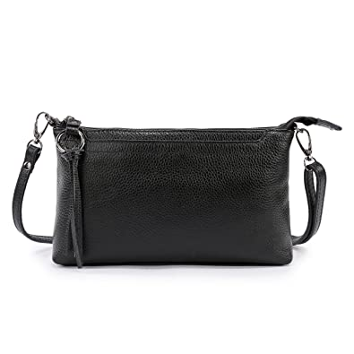 499b47816599 Lanvera Women s Crossbody Shoulder Bag Genuine Leather Zipper Clutch Purse  Wallet Handbag (Black)
