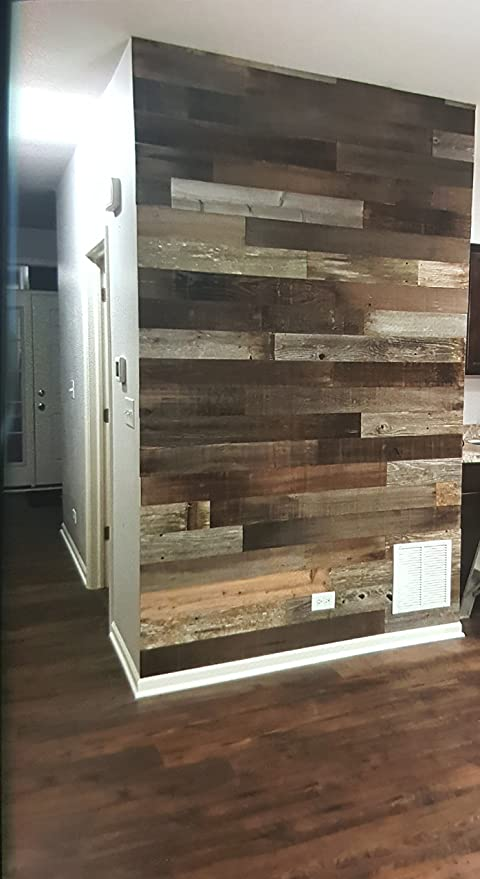 amazon com peel and stick wood wall planks 100 real rustic wall