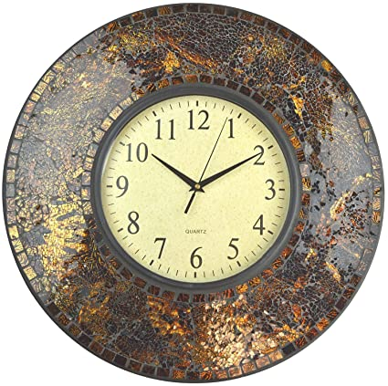 LuLu Decor, 19u0026quot; Amber Crush Mosaic Wall Clock, Glass Dial, 4.50u0026quot;