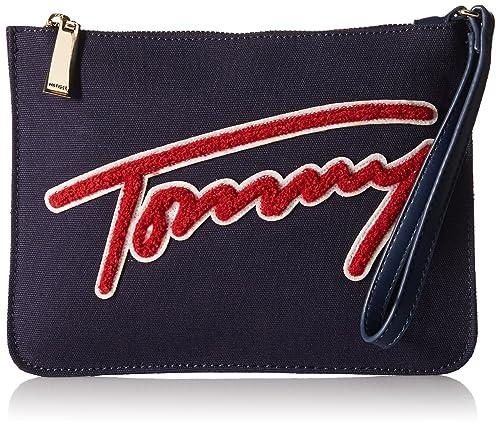 Tommy Hilfiger - Cartera de mano para mujer multicolor azul marino/rojo: Amazon.es: Zapatos y complementos