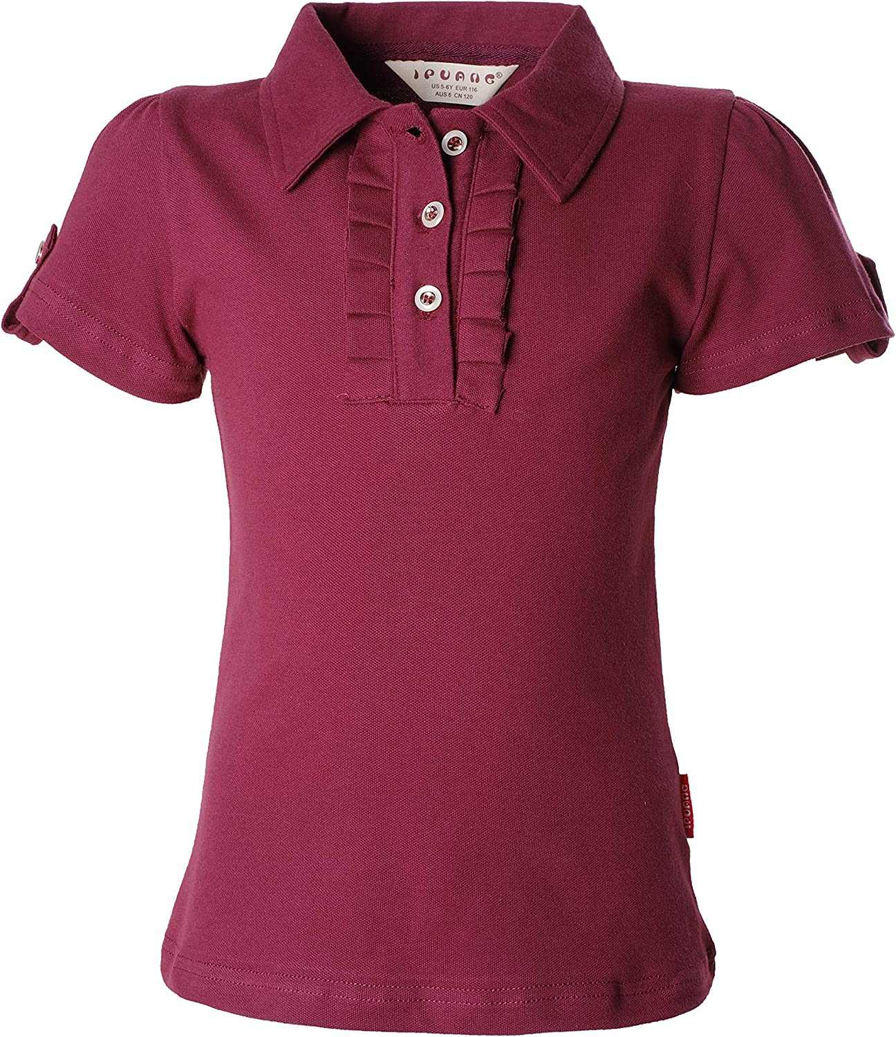 Ipuang Girl Short Sleeve Cotton Ruffle Polo Shirt Top
