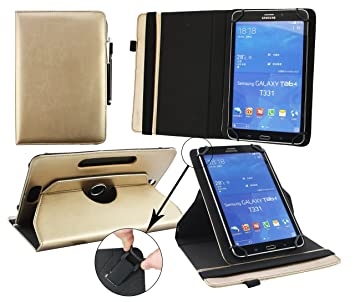 Emartbuy® Bq Edison 3 Mini 8 Pulgada Tablet Universal (7-8 Pulgada) Metálico Oro Premium Cuero PU 360 Grados Soporte Giratorio Folio Carcasa Wallet ...