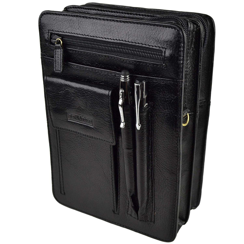 Golunski Mens Leather Travel Cross Body Waist Bag By With Long Strap Manbag