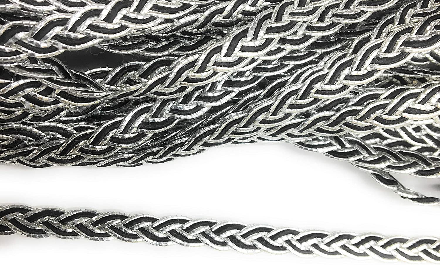 Dress Trims Upholstery Trims 3//8 Dress Trimming 6mm Trimmings 5 Yards Scallop Braid Silver Black Braided Cord Braid