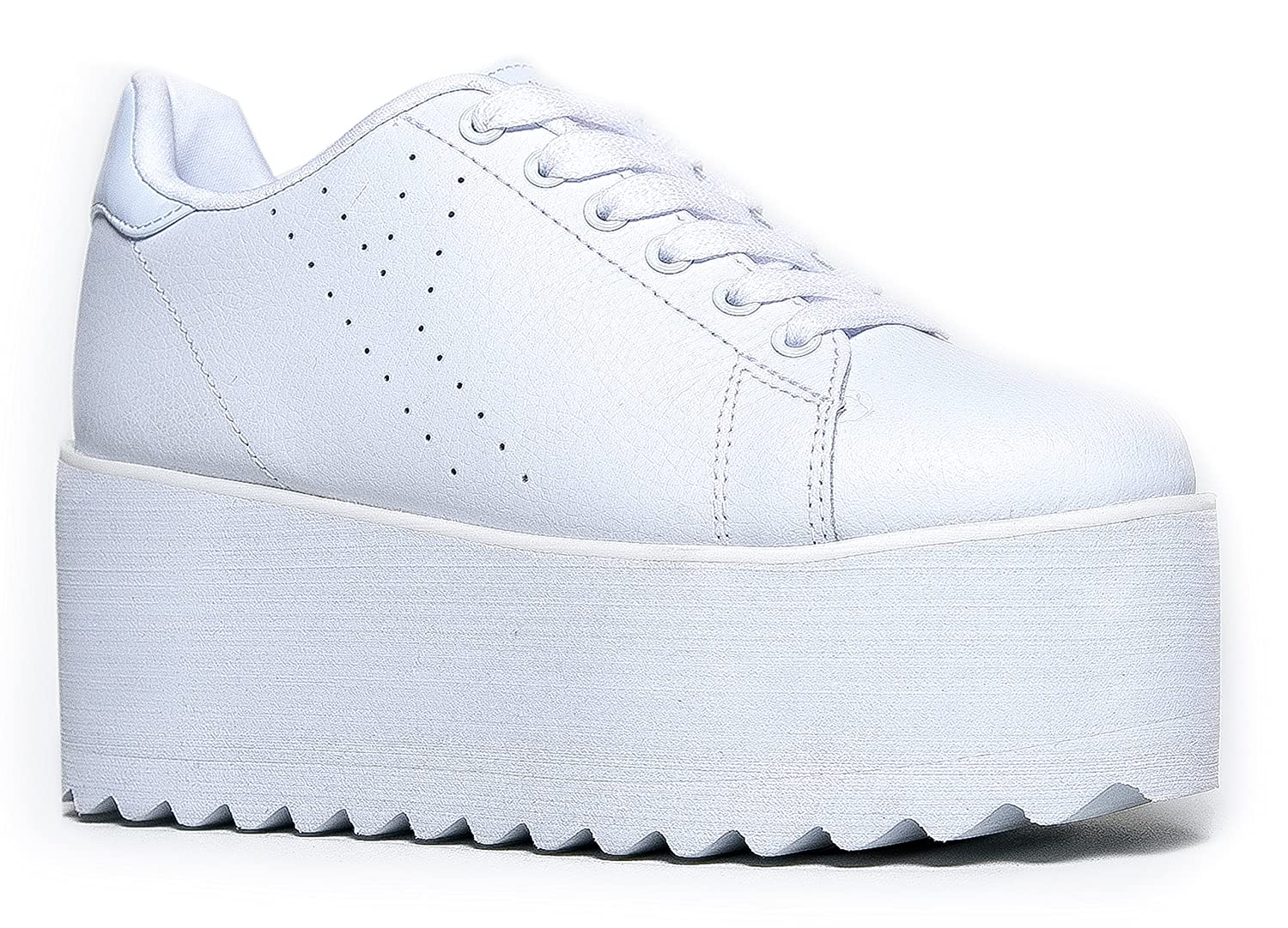 YRU Lala Casual Platform Sneaker - High Rave Flatform Closed Round Toe Creepers B07BFKW7CD 10 M US|White
