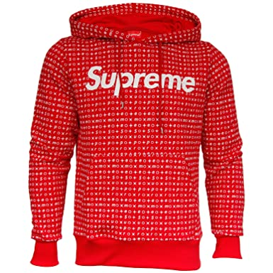 Supreme Italia Hoodie Hooded Pullover Herren Pattern Logo Patch H45R rot  weiss Dope XL