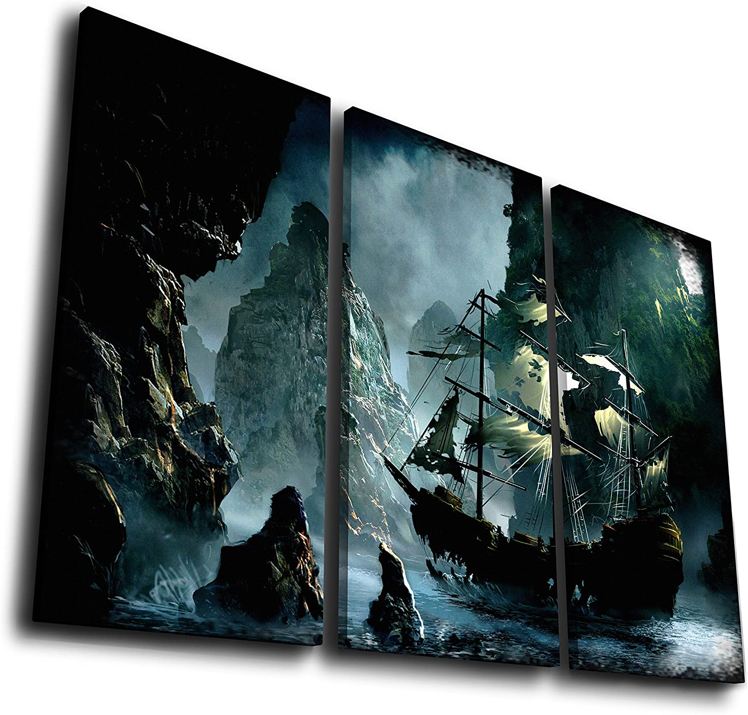 HQ Art 3 Pcs Ghost Ship Old Pirate Ship Sea Landscape Canvas Prints Paintings Canvas Wall Art Modern Stretched Pictures Artwork Office Home Décor Halloween Gifts (SIZE 3: 16x32inchx3pcs, With Framed)