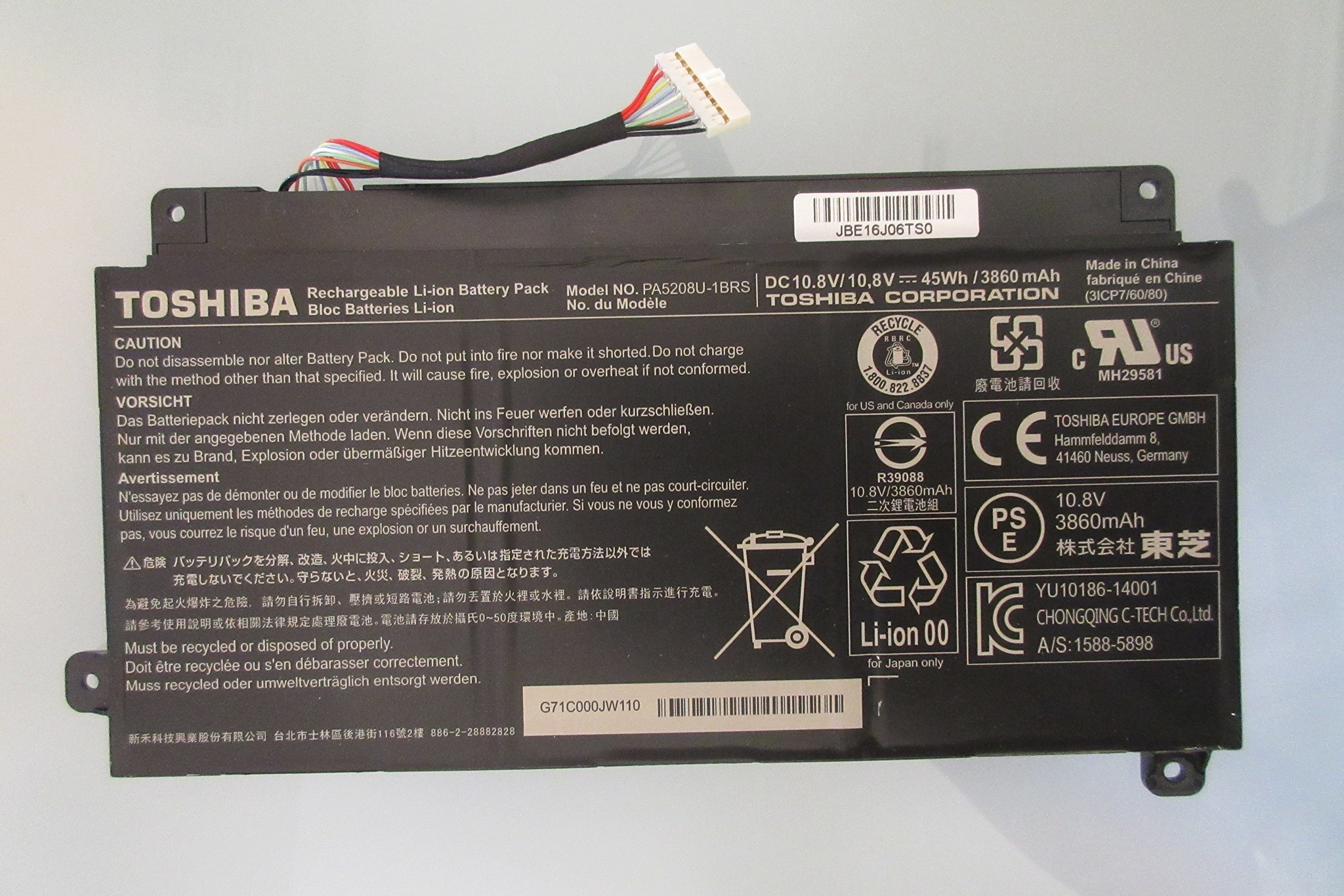 Li-ion 3 Cell Battery 45Wh 10.8V for Toshiba Satellite L55W-C5220 L55W-C5352 Series New Genuine