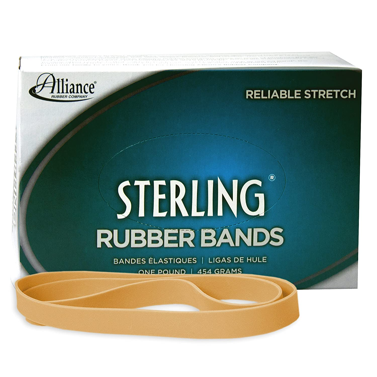 Alliance Sterling Rubber Band Size No.107 (7 x 5/8-Inch), 1 Pound Box (Approximately 50 Bands Per Pound) - 25075