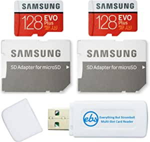 Samsung 128GB Evo Plus MicroSD Card (2 Pack EVO+) Class 10 SDXC Memory Card with Adapter (MB-MC128G) Bundle with (1) Everything But Stromboli Micro & SD Card Reader