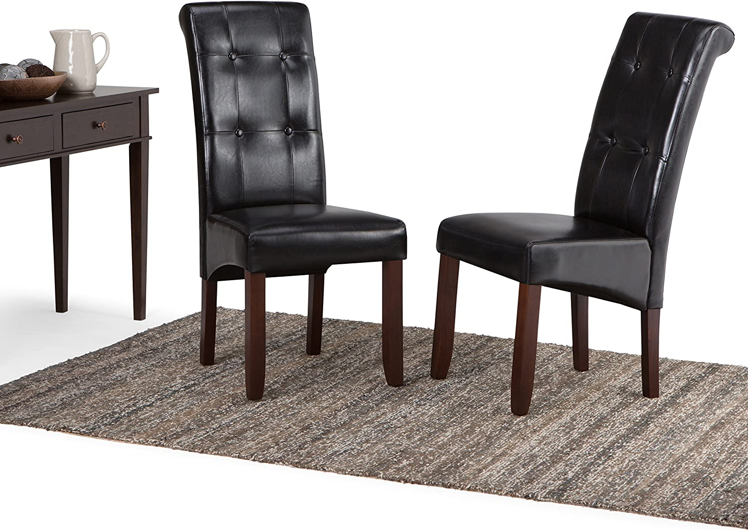 Set of 2 Midnight Black Simpli Home Cosmopolitan Deluxe Tufted Parson Dining Chair
