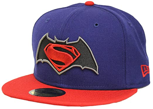 New Era 59Fifty Batman V Superman BVS Logo Blue   Red Fitted Cap at ... 22fba373ea7