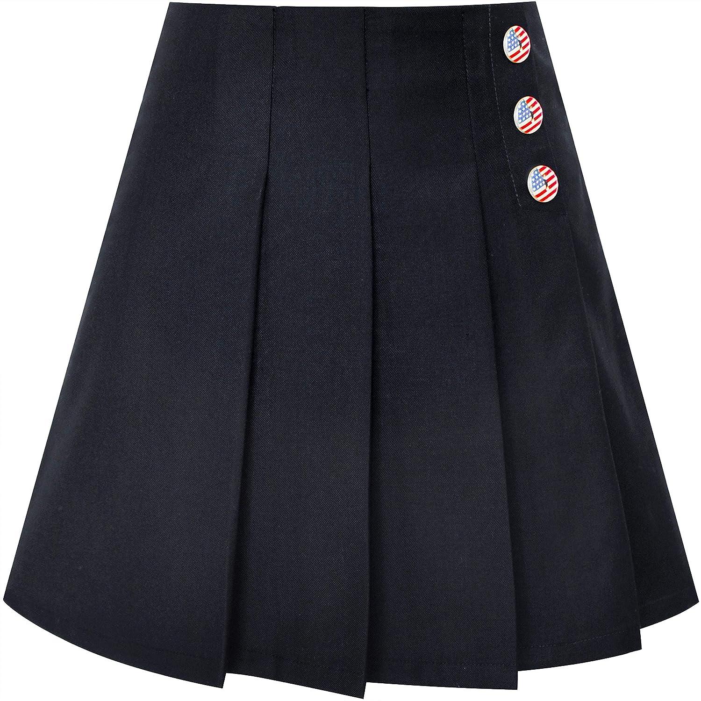 Sunny Fashion Ragazze Gonna Beige Pieghe Cravatta a Farfalla Back School Uniforme 6-14 Anni