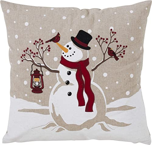 SARO LIFESTYLE Holiday Home Collection Down-Filled Poly Throw Pillow with Happy Snowman Design, 18 , Multi