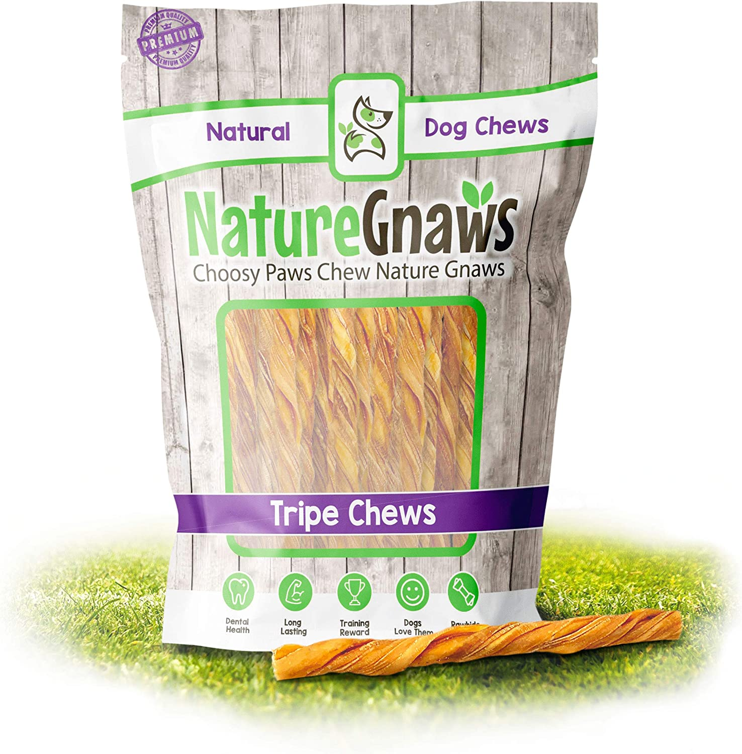 Nature Gnaws Extra Thin Tripe Twists for Small Dogs - Premium Natural Beef Sticks - Single Ingredient Crunchy Dog Chew Treats - Rawhide Free - 4-5 Inch