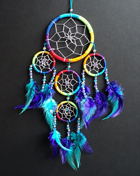 Dream Catchers For Sale Uk DREAM CATCHER RAINBOW multi coloured silver web DREAMCATCHER 15