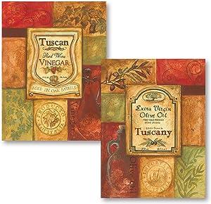2 Tuscan Retro Olive Oil and Vinegar; Kitchen Decor; Two 11x14 Mounted Prints