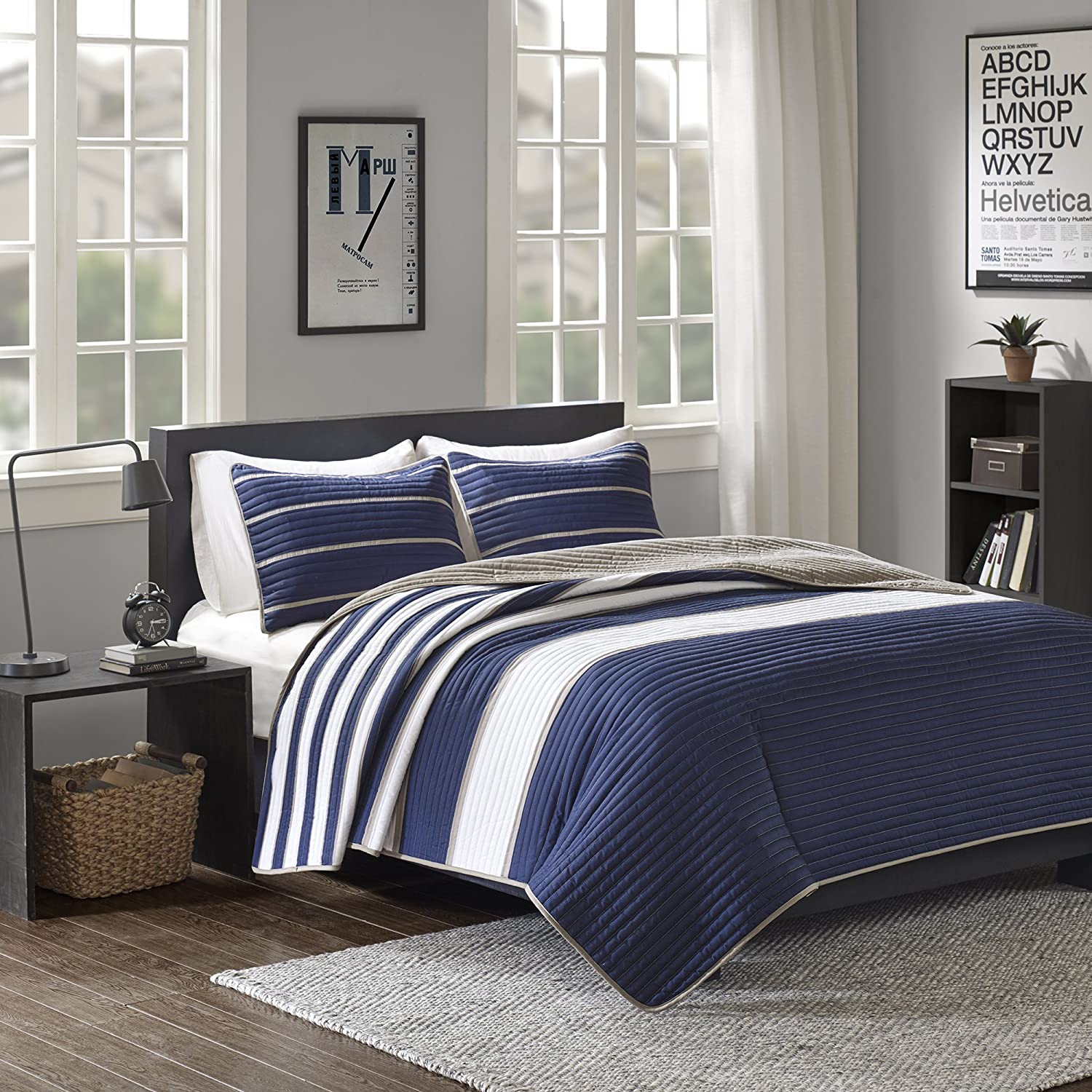 Comfort Spaces - Verone Mini Quilt Coverlet Set - 2 Piece - Navy, White, Khaki - Stripes Pattern