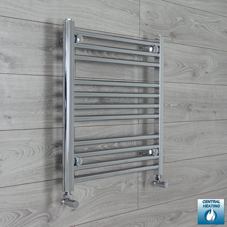 500mm wide x 600mm high Heated Towel Rail Straight Flat Chrome ...