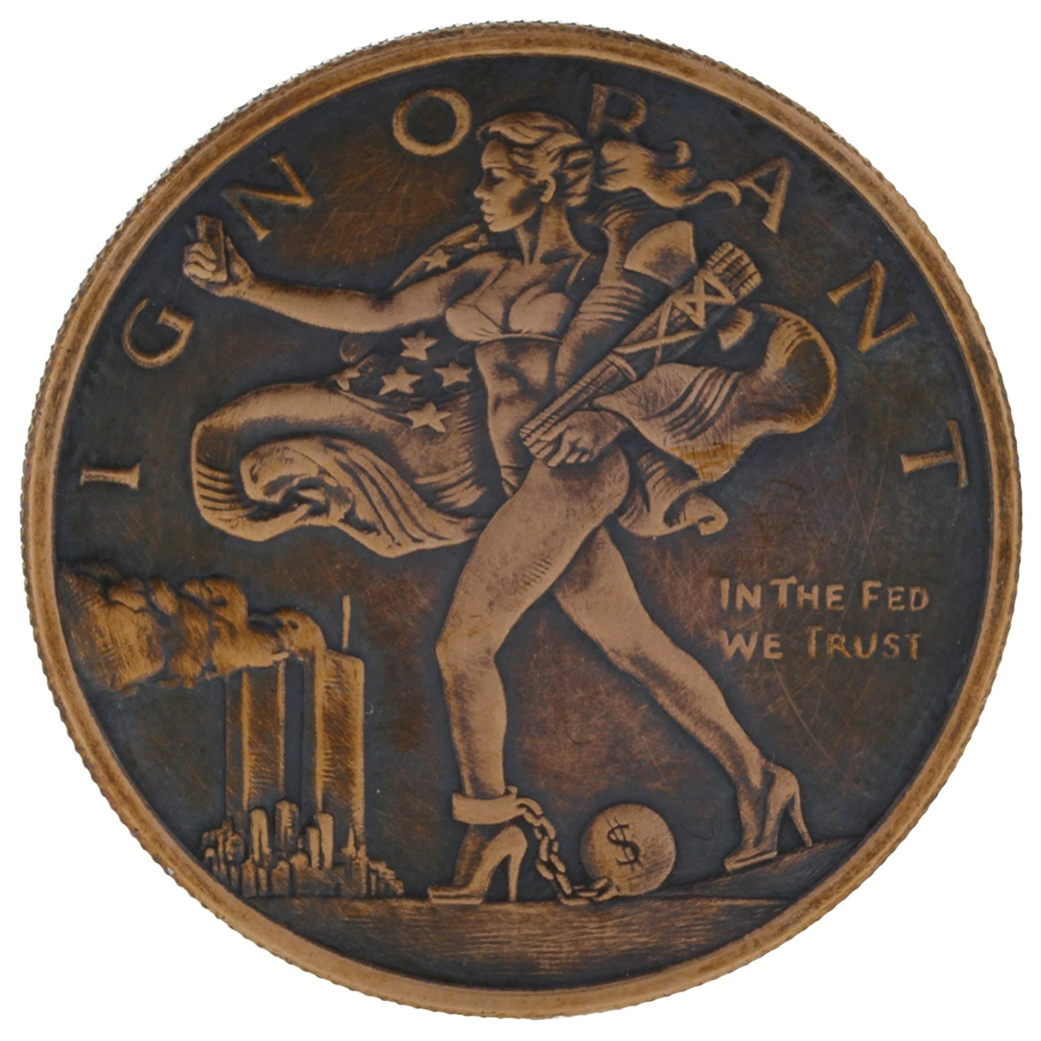 Blinded Liberty ( Mini Mintage ) 1 oz .999 Pure Copper Challenge Coin w /ブラックPatina byジグPro Shop   B075QKNW8R