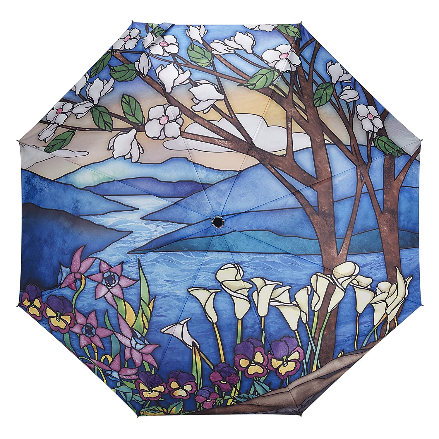 Galleria Stained Glass Landscape Auto-Open/Close Extra Large Portable Rain Folding Umbrella for Women, 48-inch canopy, compacts to 12' fitting in most totes, unbreakable fiberglass ribs compacts to 12 fitting in most totes 33049