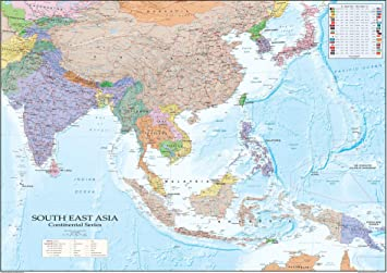South East Asia Map - Paper Laminated - A1 Size 59.4 x 84.1 cm [GM]