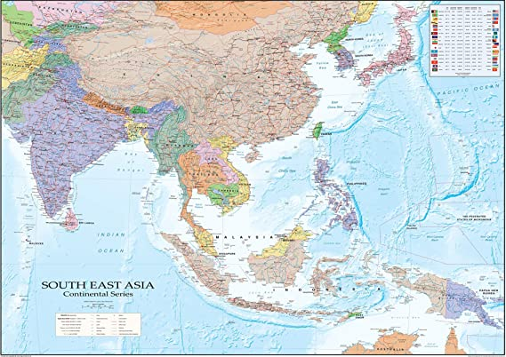 SonicPrint Map of Asia showing all capital cities along with flags ...