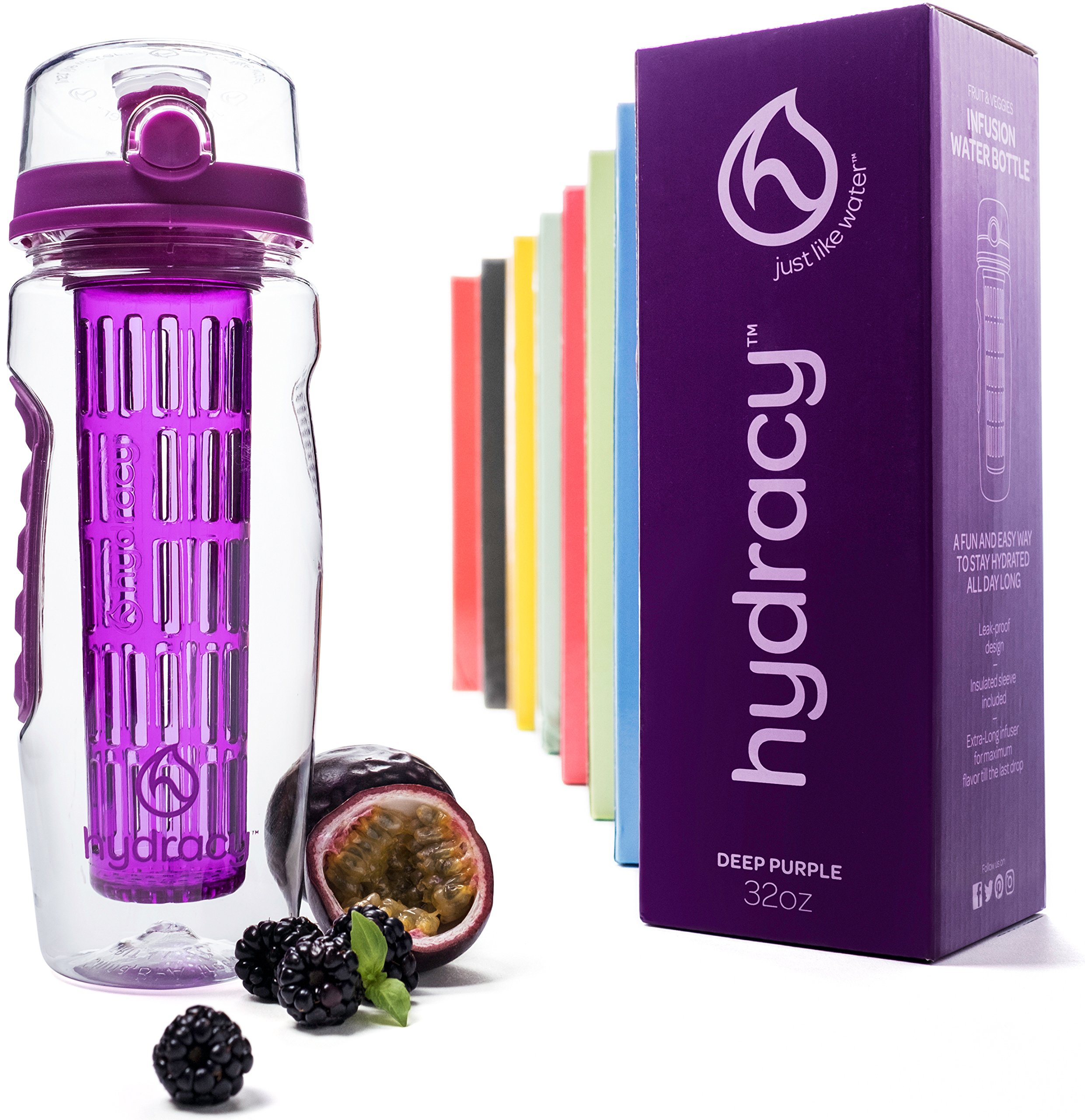 Hydracy Fruit Infuser Water Bottle - 32 Oz Sport Bottle with Full Length Infusion Rod and Insulating Sleeve Combo Set + 27 Fruit Infused Water Recipes eBook Gift - Deep Purple