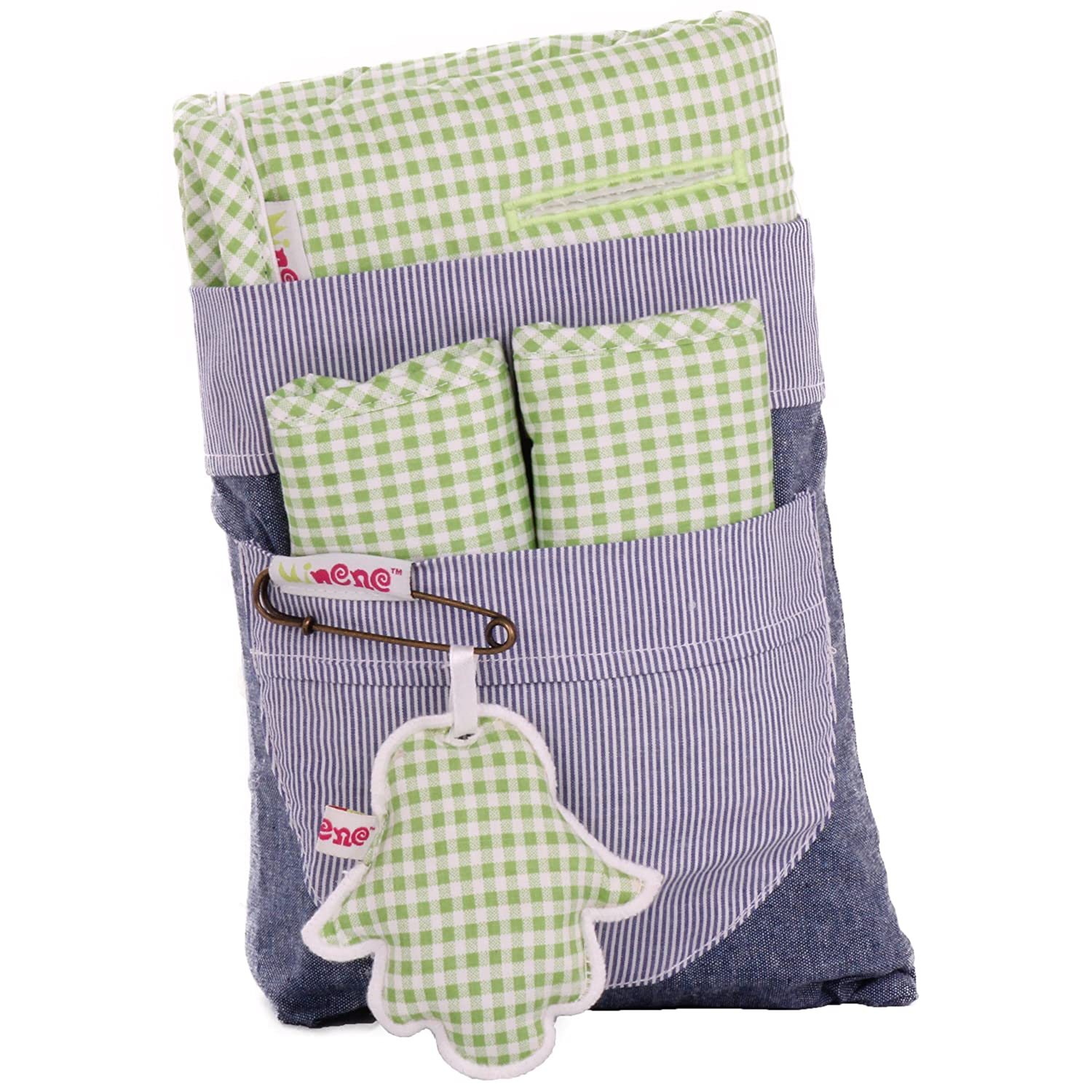 Green Gingham Minene Universal Pushchair Stroller Pram Buggy Liner Footmuff Cosytoes Car Seat with safety straps