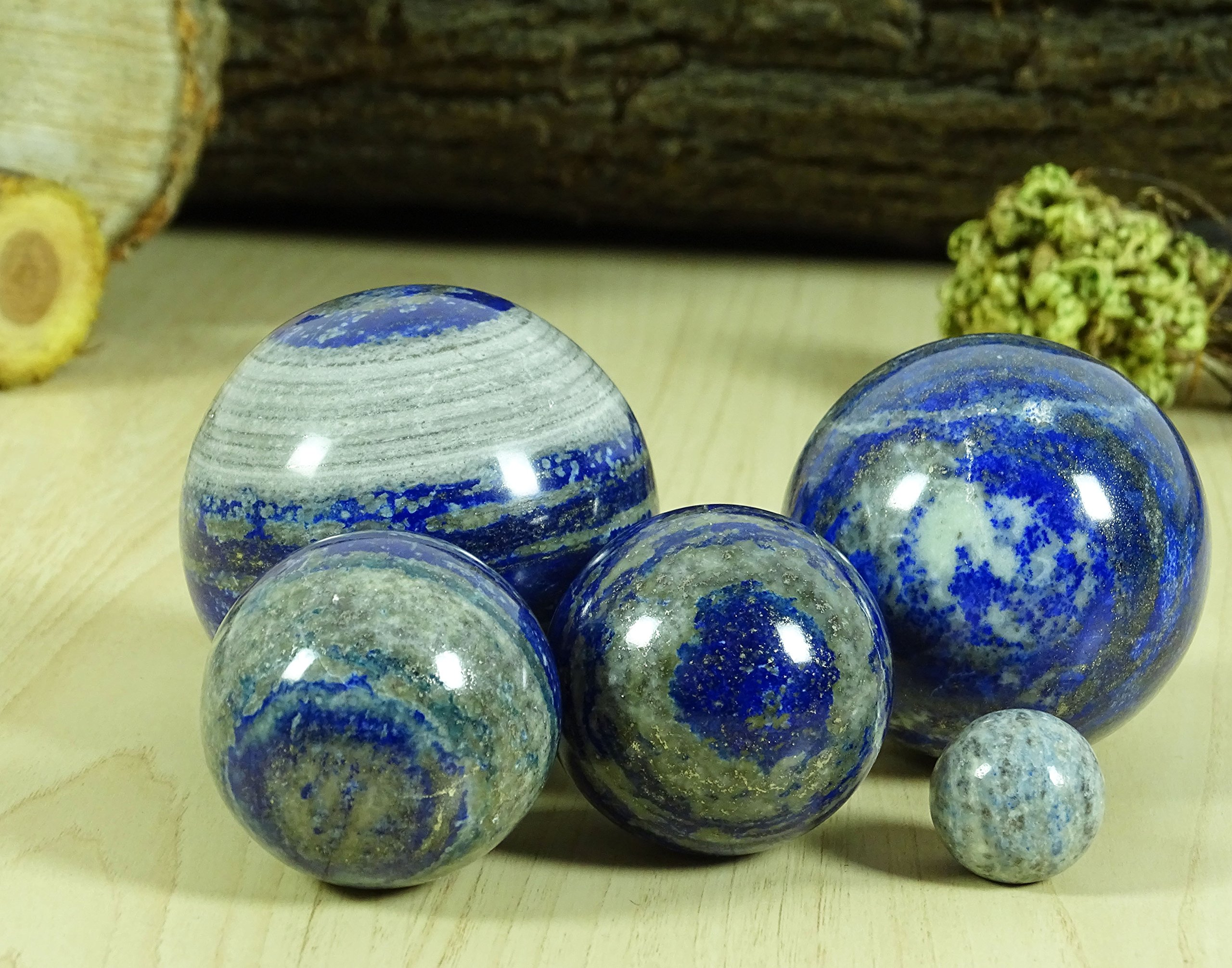 Reikiera Lapis Lazuli Stone Ball Natural Gemstone Sphere Reiki Crystal Healing With Ring Stand- Choose Size