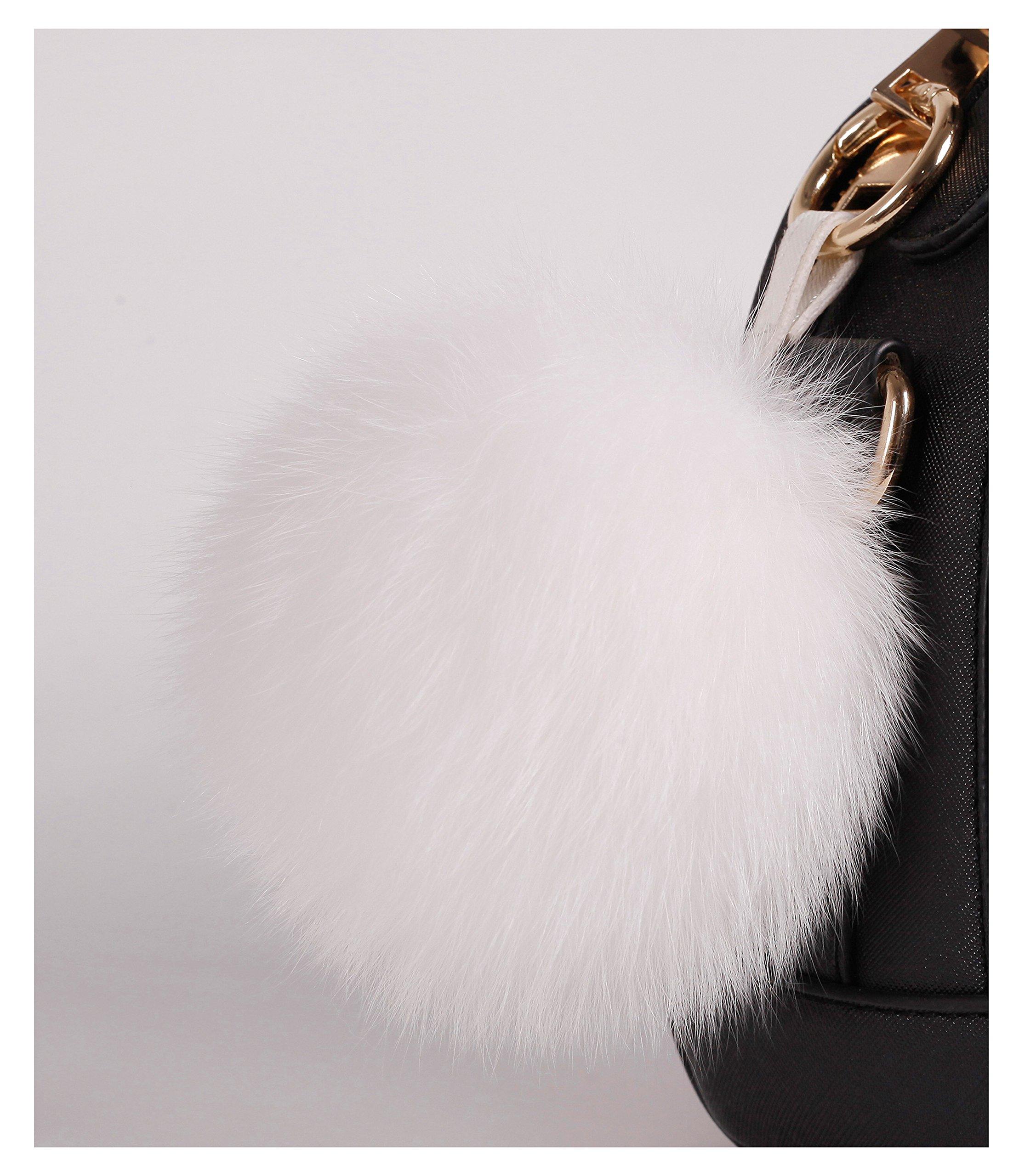 S.ROMZA real Fox Fur Pom Pom Keychain Womens Bag Charms soft and Fluffy Fur Ball Keychain (5.1inch, White(Fox fur))