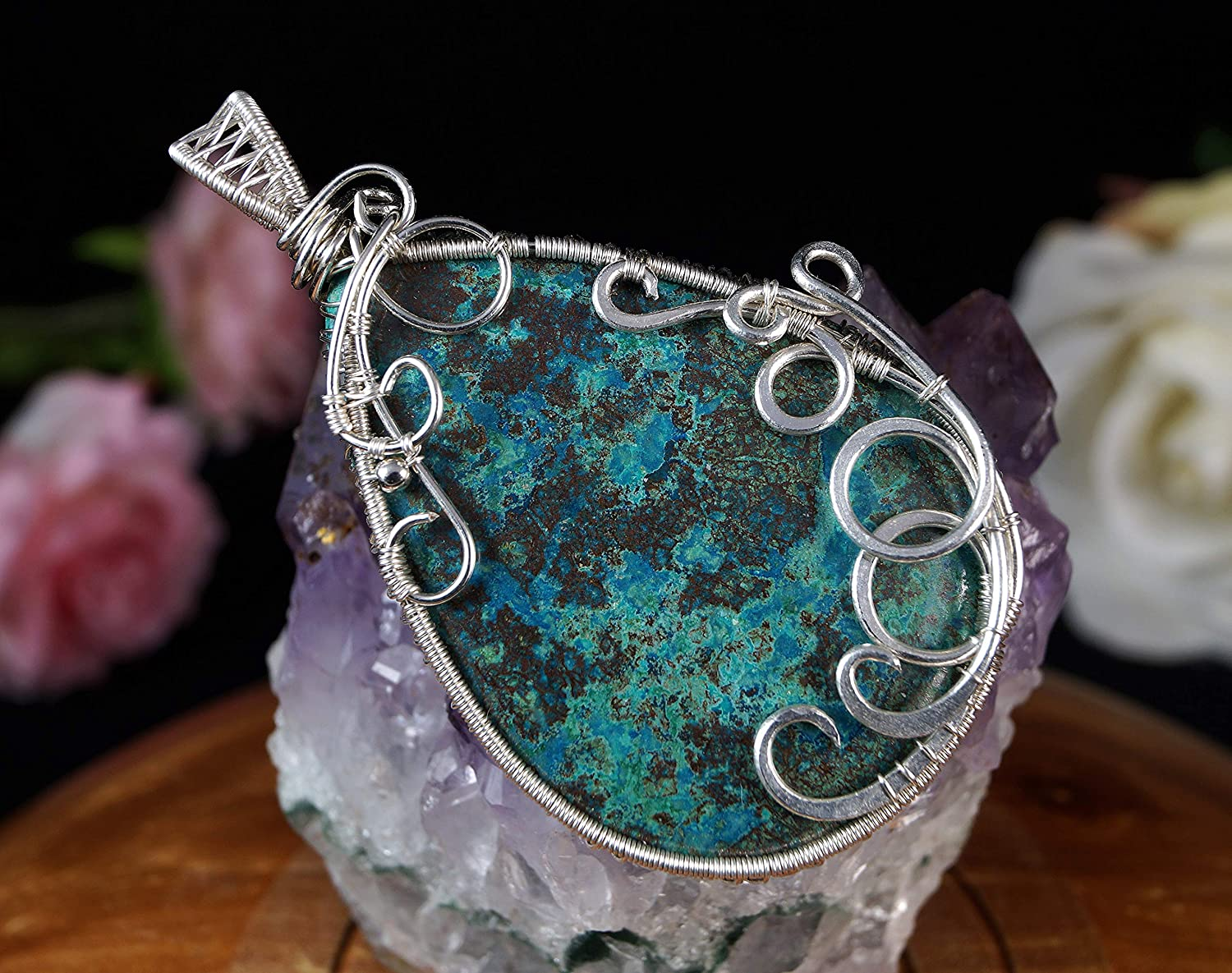 wire wrapped artisan handcrafted jewelry for women Sterling Silver pendant with natural Azurite gift for her gift for mom perfect present