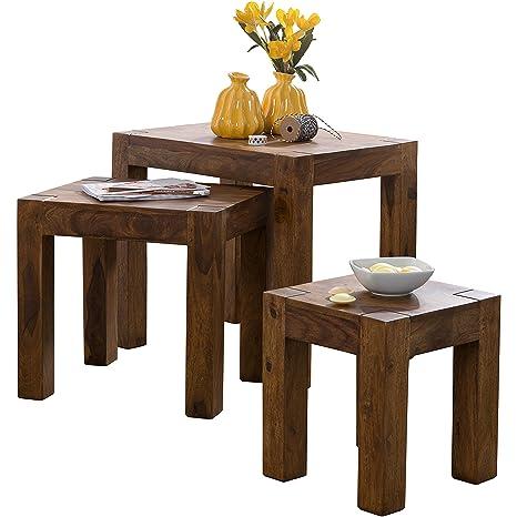 WOHNLING 3er Set Satztisch Massivholz Sheesham Wohnzimmer-Tisch  Landhaus-Stil Beistelltisch dunkel-braun Naturholz Couchtisch Natur-Produkt  ...