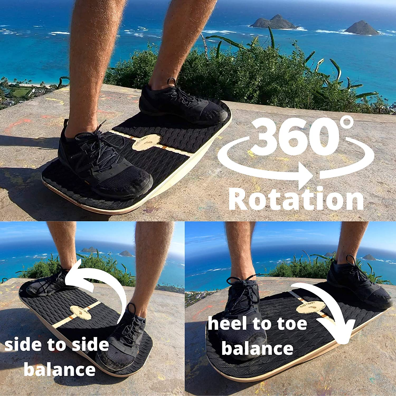 Sup Physical Therapy Gym /& Home Yoga Exercise!/… Great for Standing Desks Blue Planet Balance Surfer 7-in-1 Bamboo Wooden Balance Board Trainer for Office Surfing