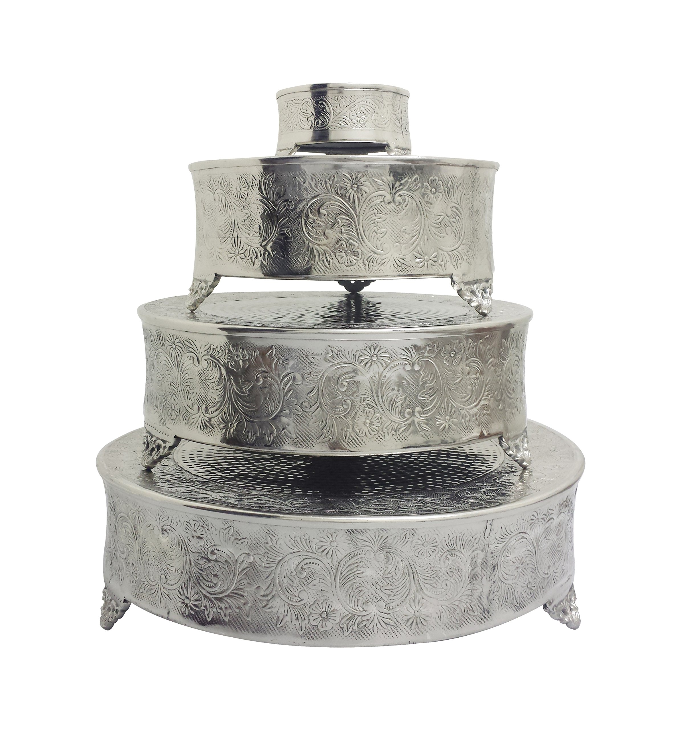 GiftBay Cake Stand Round Set of 22'', 18'', 14'' & 6'' Silver Specifically Made for Professional Bakers and Sold With Huge Discount by GiftBay Creations