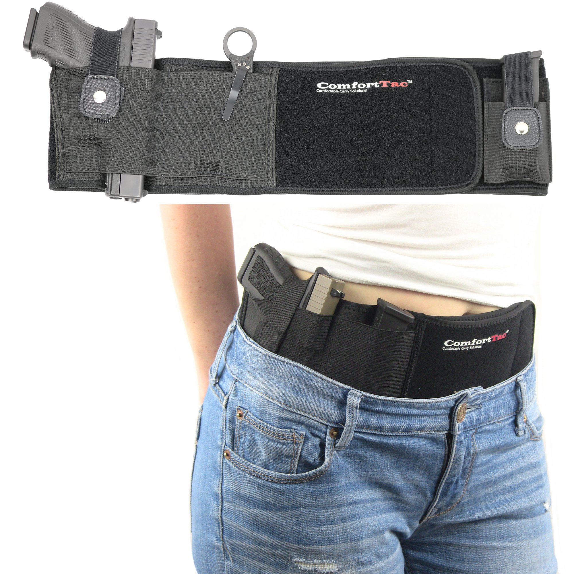 Ultimate Belly Band Holster for Concealed Carry | Black | Fits Gun Smith and Wesson Bodyguard, Shield, Glock 19, 42, 43, P238, Ruger LCP, and Similar Sized Guns | For Men and Women | Right Hand Draw by ComfortTac